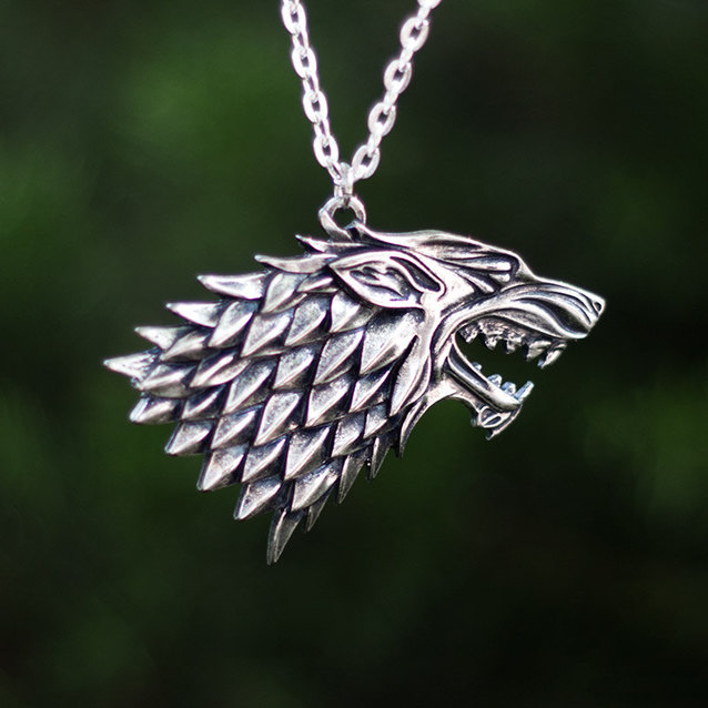 Show img house stark necklace chain game of thrones wolf