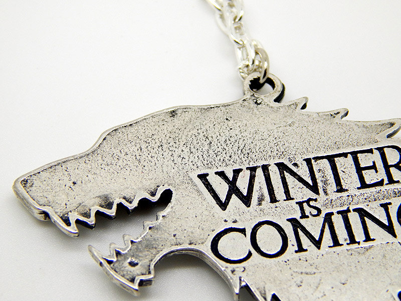 Show img game of thrones stark winterfell sansa arya john snow chain necklace wolf
