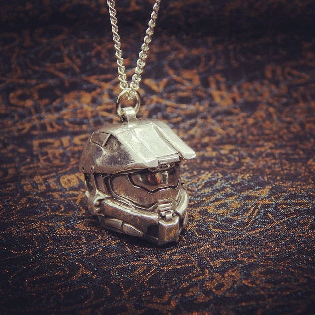 Show img halo necklace chain silver 925 master chief pendant gaming
