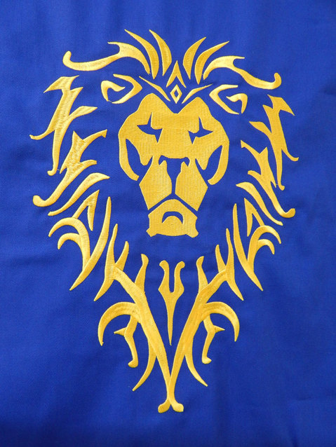 Show img world of warcraft wow alliance banner lion embroidery