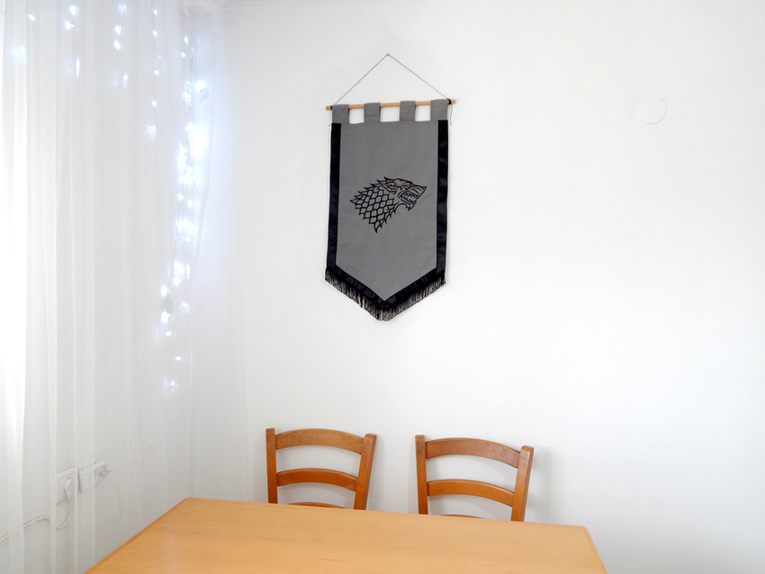 Show img game of thrones wall decor banner house stark wolf